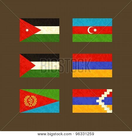 Flags Of Jordan, Azerbaijan, Palestine, Armenia, Eritrea And Nagorno-karabakh