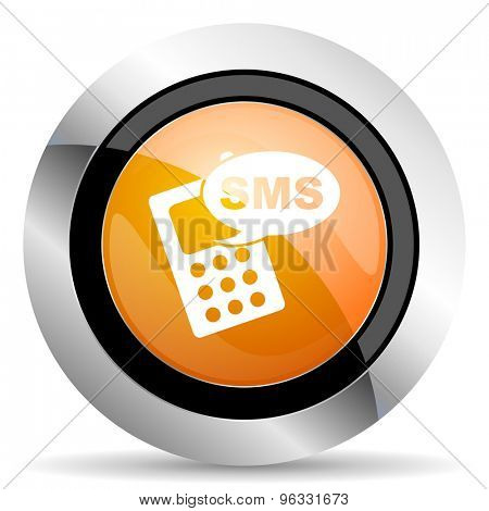 sms orange icon phone sign