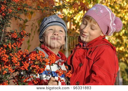 A boy with a girl near rowan