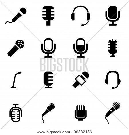 Vector Black Microphone Icon Set