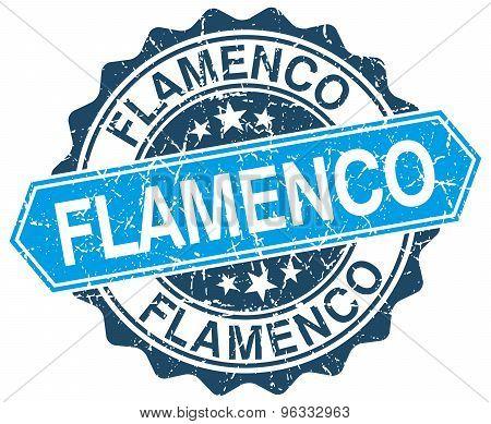 Flamenco Blue Round Grunge Stamp On White