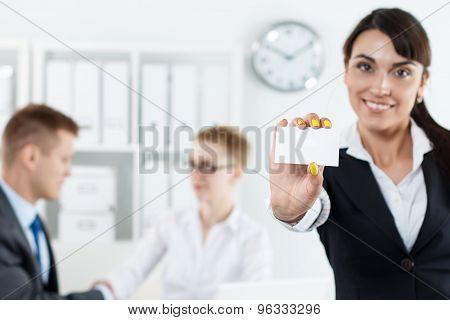 Beautiful Businesswoman Holding Blank White Calling Card