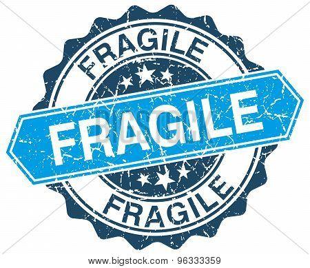 Fragile Blue Round Grunge Stamp On White