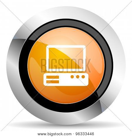 computer orange icon pc sign