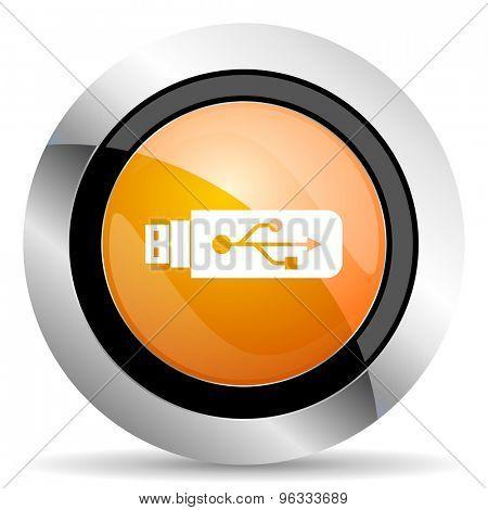 usb orange icon flash memory sign