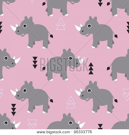 Seamless pink kids geometric triangle and rhino animals illustration background pattern in vector