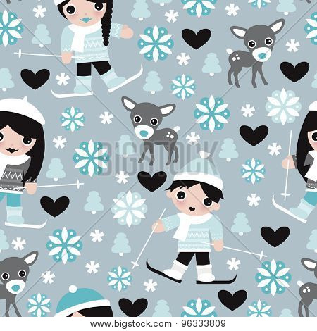 Seamless kids winter wonderland ski slope snow flakes and reindeer christmas theme illustration background pattern in vector