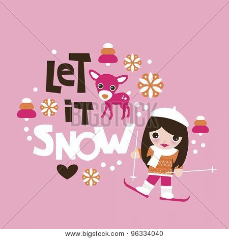 Let it snow winter christmas theme kids reindeer and ski slope girls illustration postcard cover design template in vector