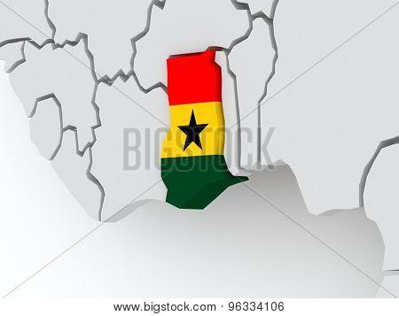 Map of worlds. Ghana. 3d