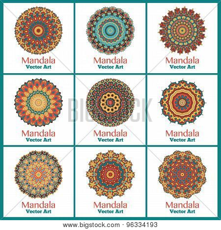 Set of 9 cards or invitations with mandala.