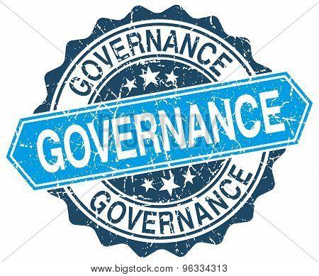 Governance Blue Round Grunge Stamp On White