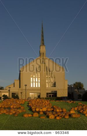 Church Background With Pumpkins