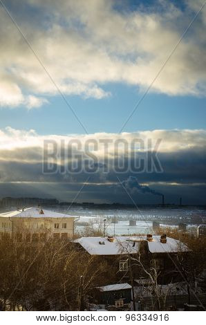 View Of The River Ob In Siberia In Winter In Downtown