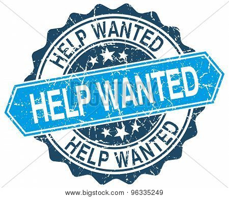 Help Wanted Blue Round Grunge Stamp On White