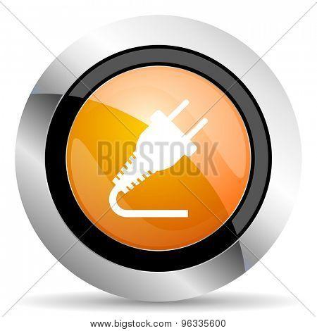 plug orange icon electricity sign
