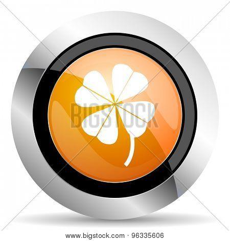 four-leaf clover orange icon