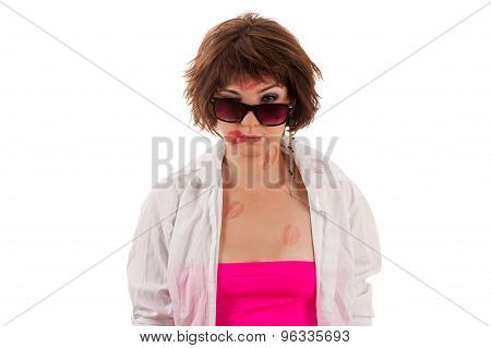 kiss woman in glasses and a shirt