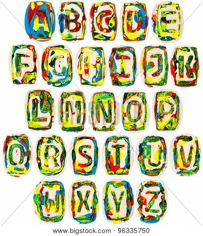 Colorful Handmade Of White Clay Alphabet