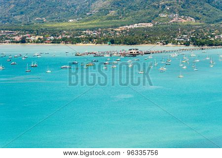 View Sea And Pier For Travel Boat In Phuket Island, Thailand