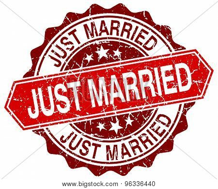 Just Married Red Round Grunge Stamp On White