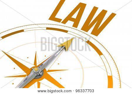 The word law against compass arrow