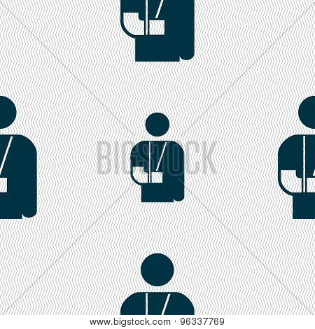 Broken Arm, Disability Icon Sign. Seamless Pattern With Geometric Texture. Vector