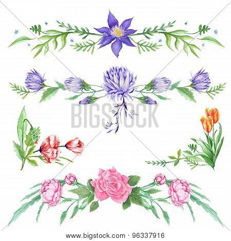 Elegant Watercolor Floral Vignettes