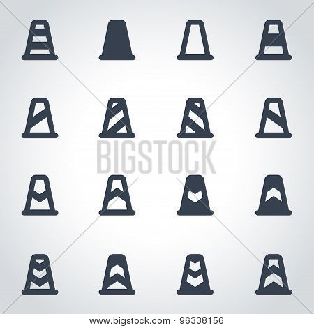 Vector Black Traffic Cone Icon Set