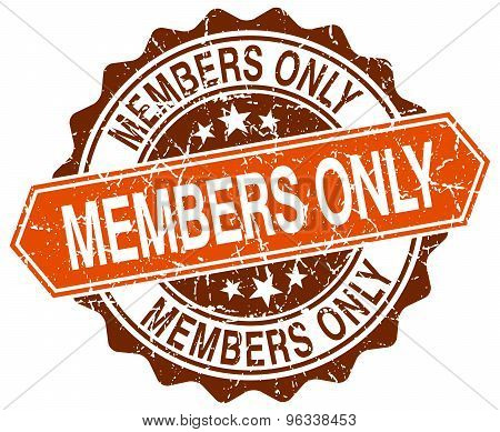 Members Only Orange Round Grunge Stamp On White