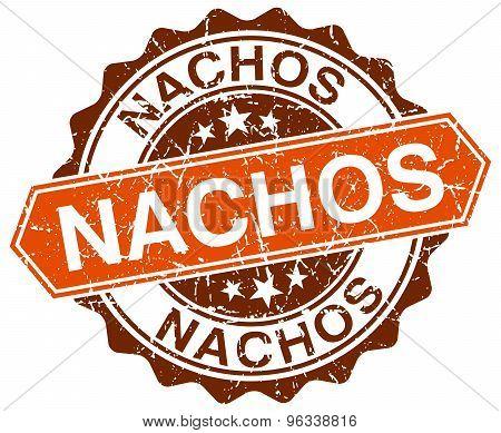 Nachos Orange Round Grunge Stamp On White