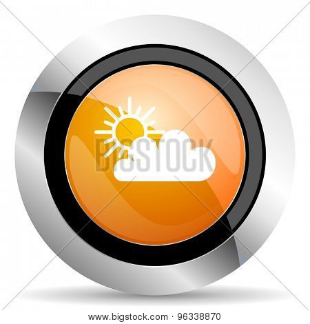 cloud orange icon waether forecast sign