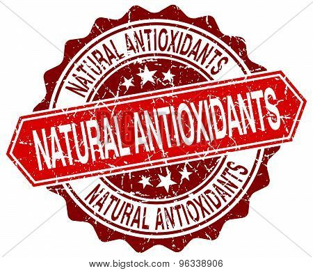 Natural Antioxidants Red Round Grunge Stamp On White