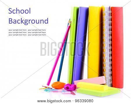 School supplies isolated on white
