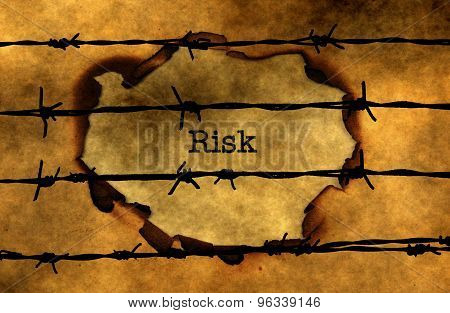 Risk And Barbwire  Concept