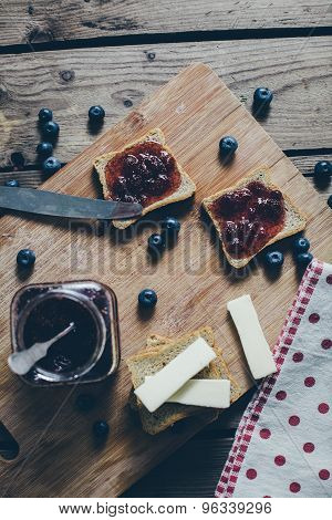 Toast Bread With Wild Strawberry Jam. Retro,vintage Filter
