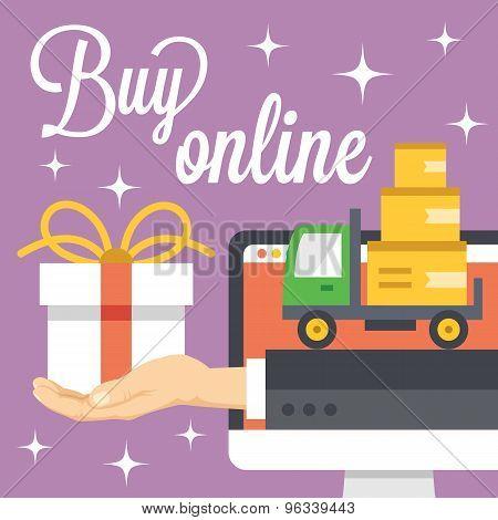 Buy online concept. Flat illustration