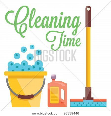 Cleaning time concept. Flat illustration