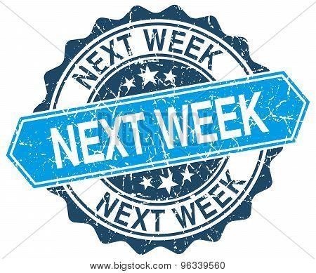 Next Week Blue Round Grunge Stamp On White