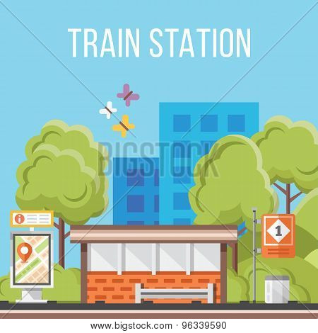 Train station. Flat vector illustration