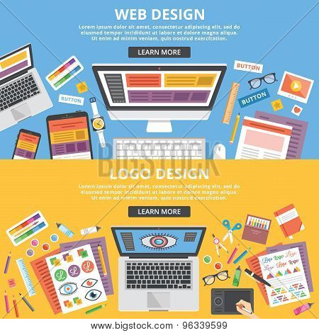 Web design, logo design flat illustration banners concepts set. Top view