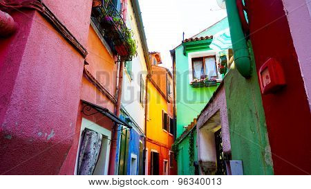 Burano Colorful Building Architecture In Alley