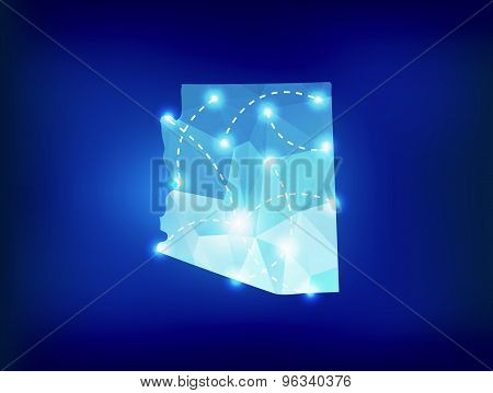 Arizona State Map Polygonal With Spotlights Places