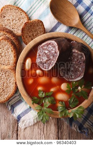 Delicious Soup With Black Pudding Fabada Asturiana Vertical Top View