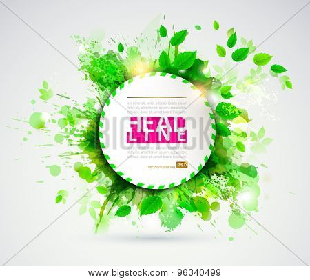 Abstract design with green leaves.