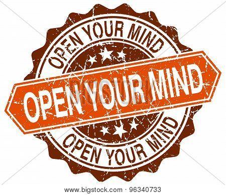Open Your Mind Orange Round Grunge Stamp On White