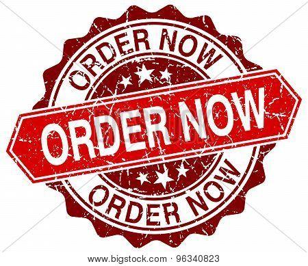 Order Now Red Round Grunge Stamp On White