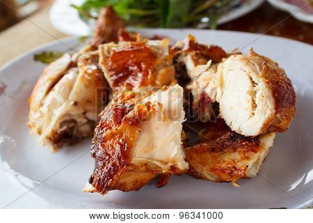 Grilled Chicken On Plate.