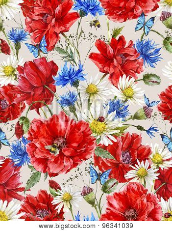 Summer Watercolor Vintage Floral Seamless Pattern with Blooming Red Poppies