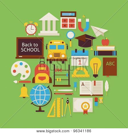 Back To School And Education Vector Flat Design Circle Shaped Objects Set With Shadow