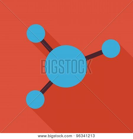 Flat Science And Education Chemistry Molecule And Atom Illustration With Long Shadow
